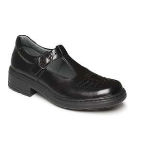 CLARKS INGRID JNR BLACK HI-SHINE