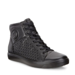 ECCO WOMENS SOFT 7 HIGH TOP BLACK TEXTILE