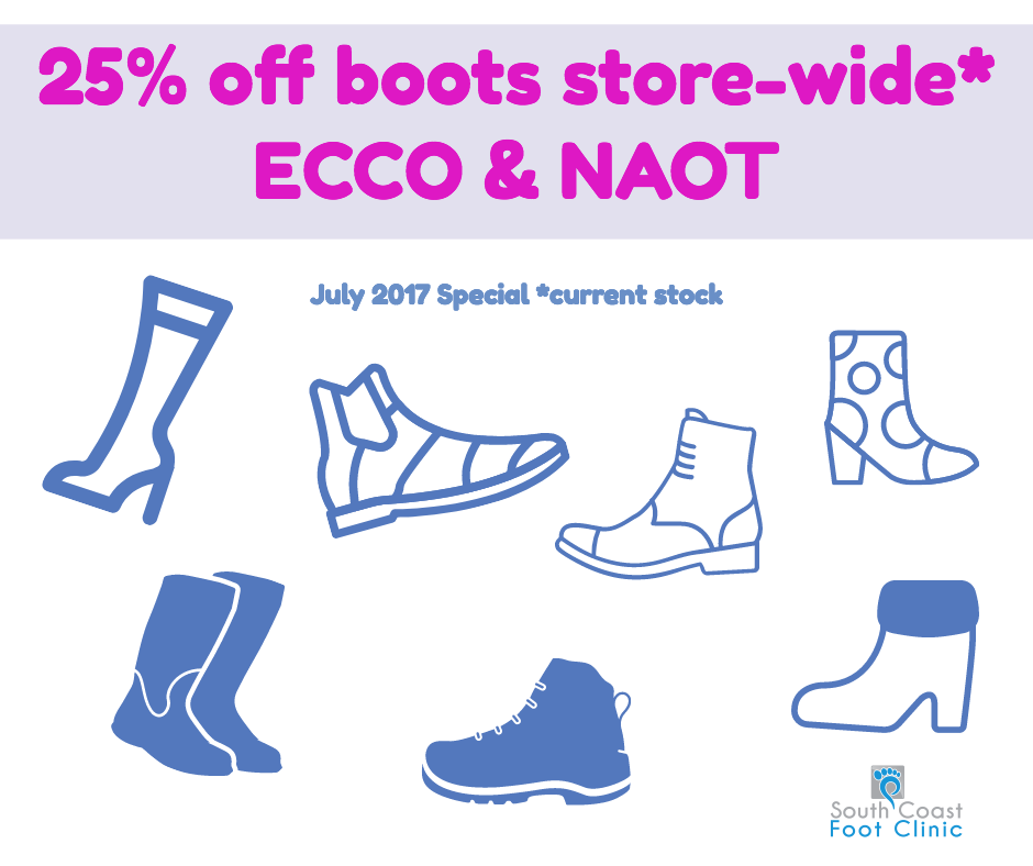 July 2017 Boot sale 25% off boots store-wide. ECCO and NAOT - current stock